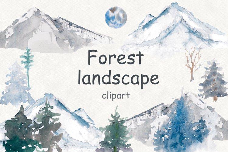 Watercolor mountain, forest Landscape clip art