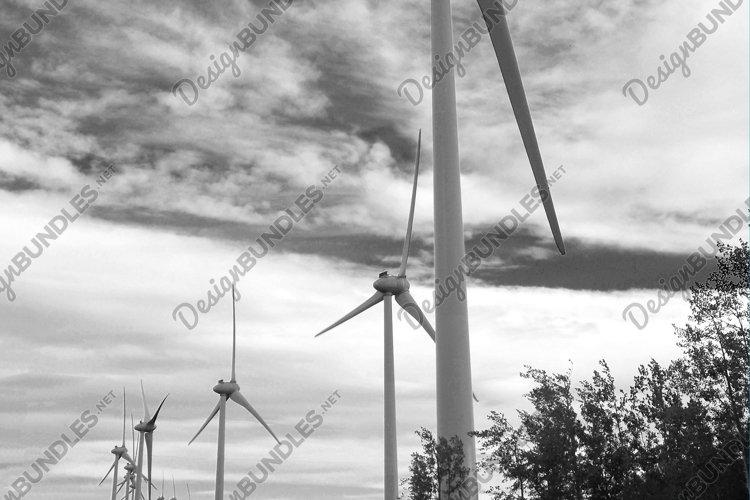 Stock Photo Black And White Wind Turbines Dawson Creek BC