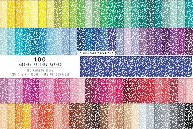 100 White V Modern Pattern Digital Papers - rainbow colors example image 1