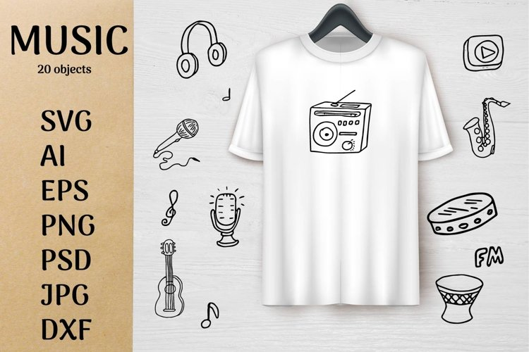Music doodle kit SVG design example image 1