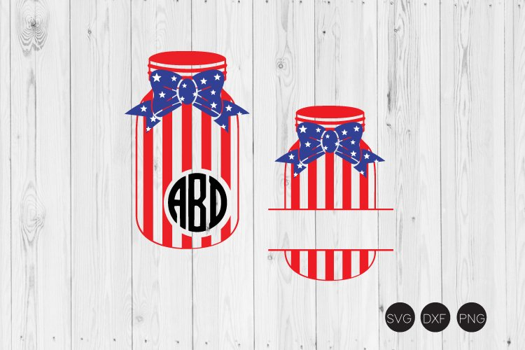 Fourth of July Mason Jar SVG example image 1