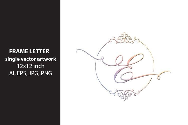 letter e inside ornate frame - single vector artwork example image 1