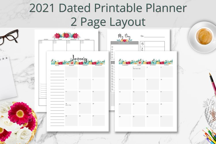 2021 Black Floral Dated Printable Planner 2 Page Layout example image 1