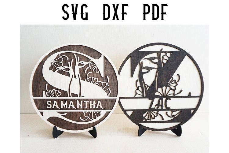 Floral Split Monogram Letter Cut File-SVG/DXF/PDF