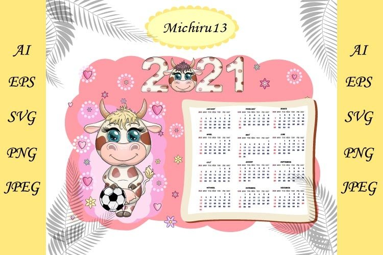 Calendar 2021 with kawaii cartoon cow example image 1