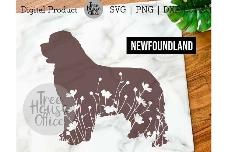 Newfoundland Floral SVG, Cute Newfie Dog with Flowers PNG