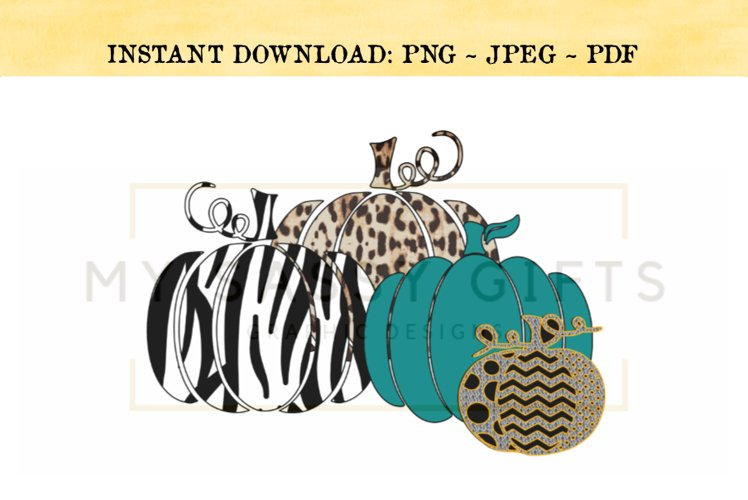 Fall Pumpkins With Leopard and Zebra Print PNG example image 1