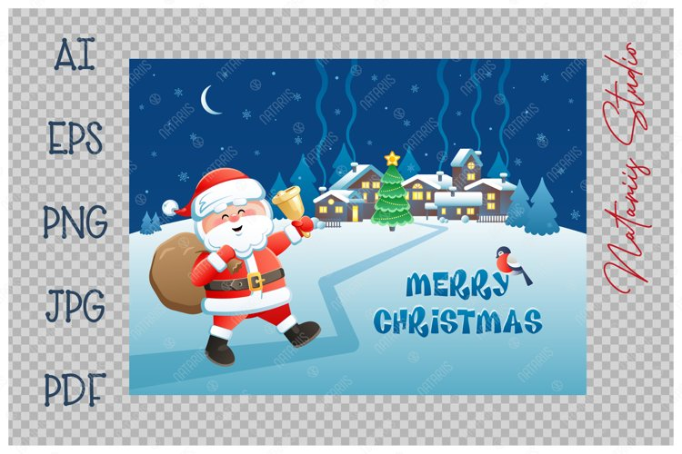 Merry Christmas. Cute Santa Claus with golden bell. example image 1