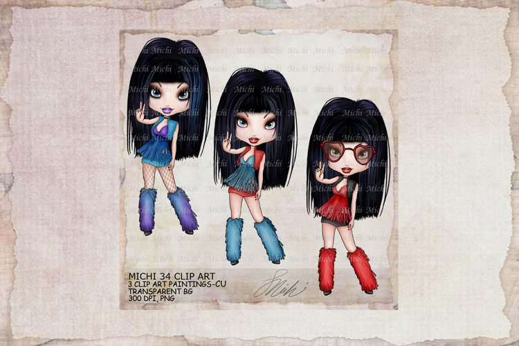 Michi 34 Cute Hippie Girl Peace Clip Art example image 1