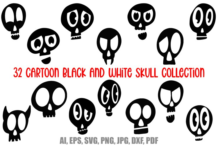 32 Black and White Cartoon Skulls Collection for Halloween example image 1