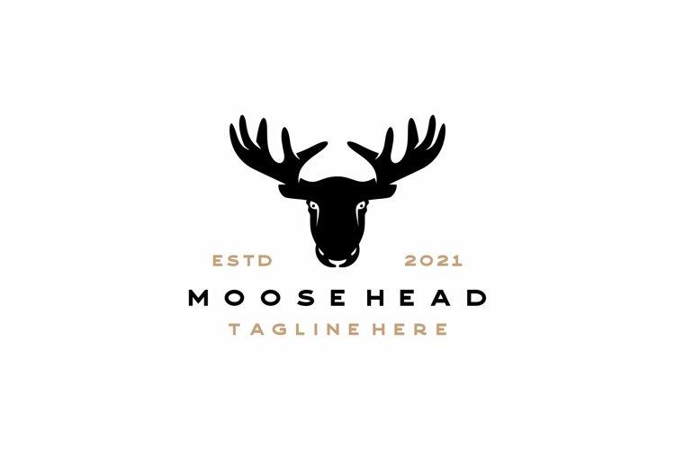 Moose Deer Head Silhouette Vector Logo Illustration Design