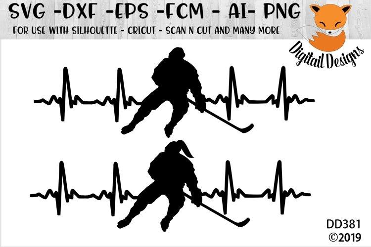 Love Hockey EKG Heartbeat SVG