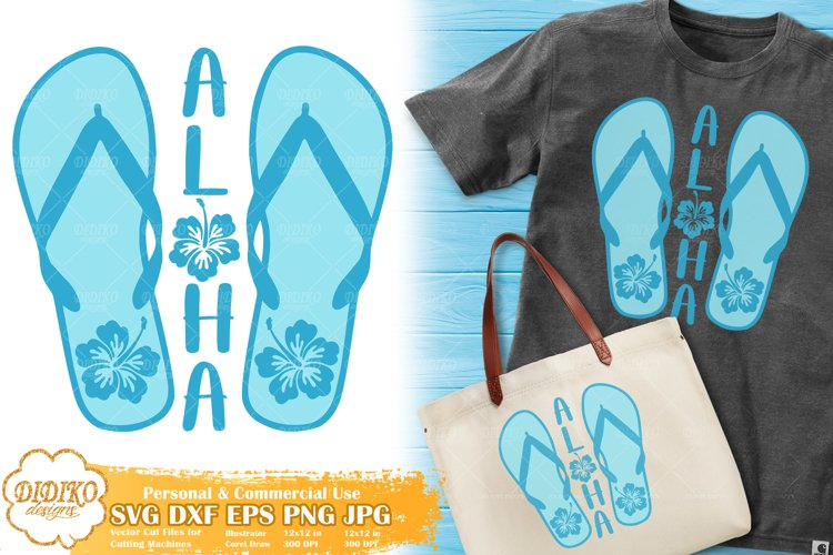 Flip Flops Aloha SVG   Hibiscus SVG   Tropical Vacation SVG example image 1