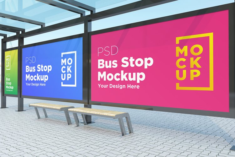 Bus Stop with 3 Billboard Mockup example image 1