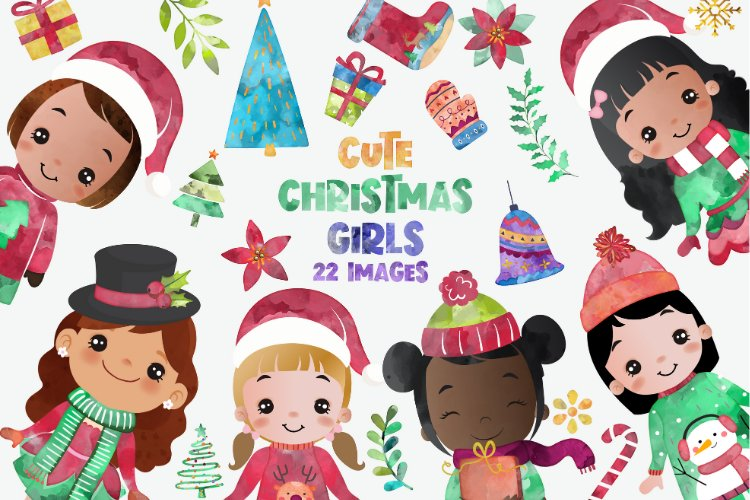 Cute Christmas Clipart, Merry Christmas Girls Clipart example image 1