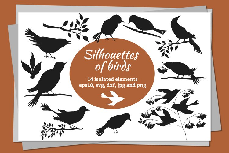 Digital silhouettes of birds SVG, PNG, EPS10, JPG, DXF example image 1