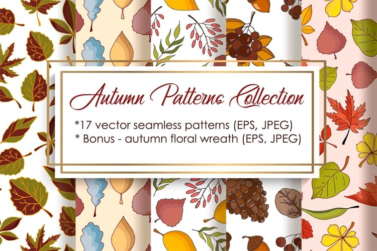 Autumn Patterns Collection - vector illustration example image 1