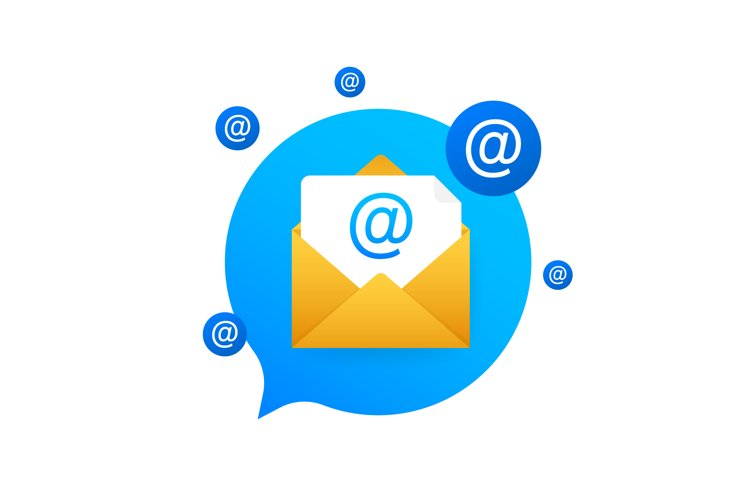 E-mail Marketing flat style, colorful, vector icon for info example image 1