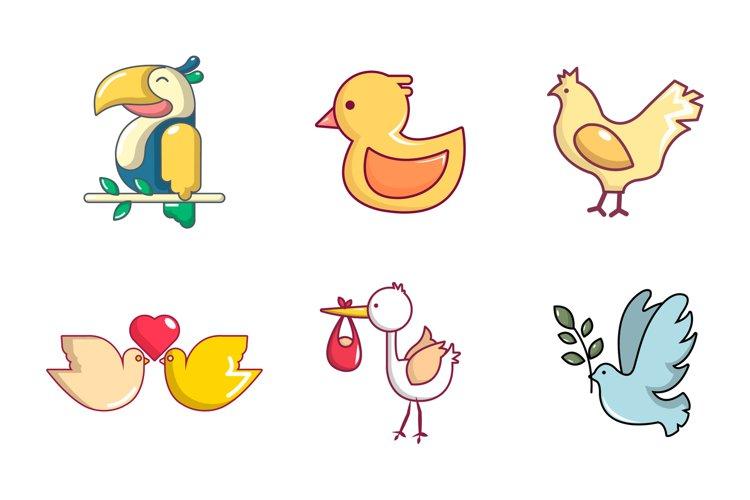Birds icon set, cartoon style example image 1
