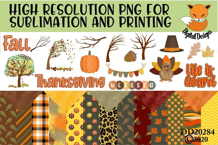 Fall Elements and Paper Sublimation Scrapbooking Bundle example image 1