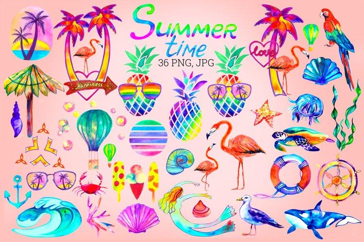 Summer Sublimation Bundle. Summer Watercolor Clip Art.