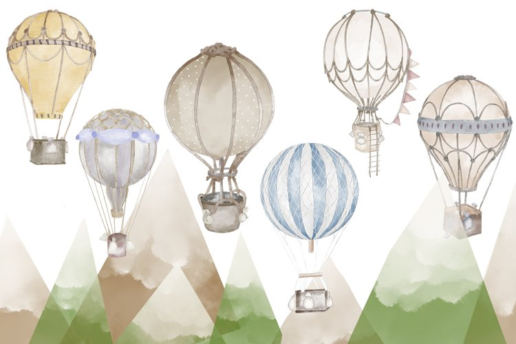 Watercolor air balloons 6 illustrations example image 1