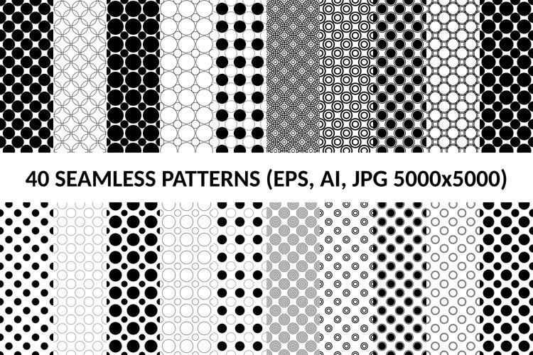 40 Seamless Circle Patterns AI, EPS, JPG 5000x5000