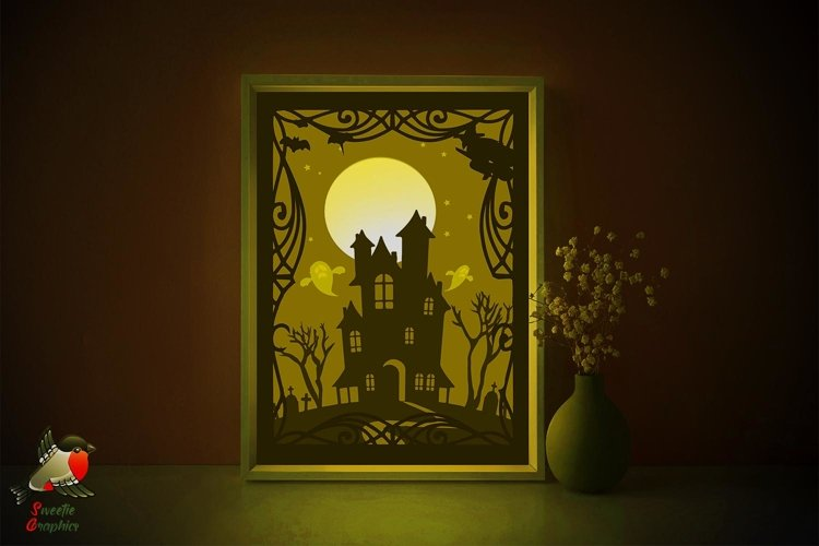 Halloween Haunted House Lightbox Shadow Box SVG Template example image 1