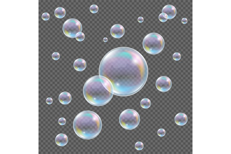 Realistic transparent vector soap bubbles with rainbow refle example image 1