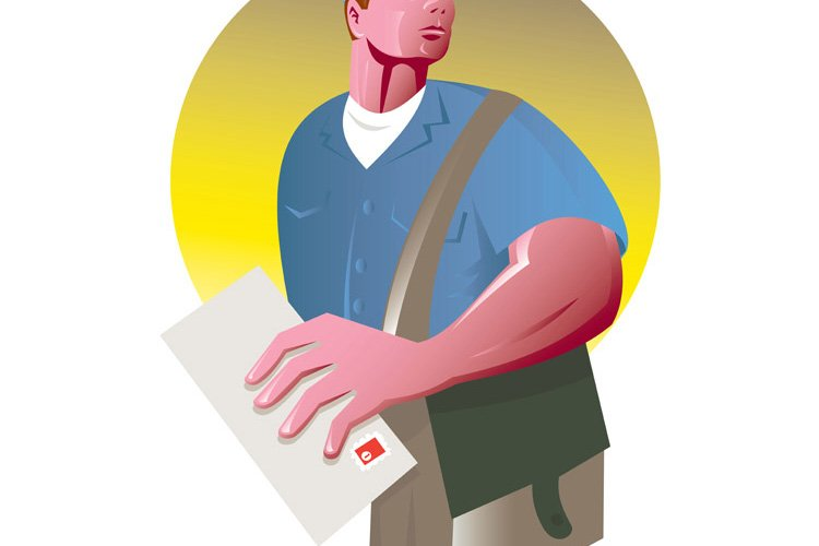 postman mailman with mail envelope mailbag example image 1