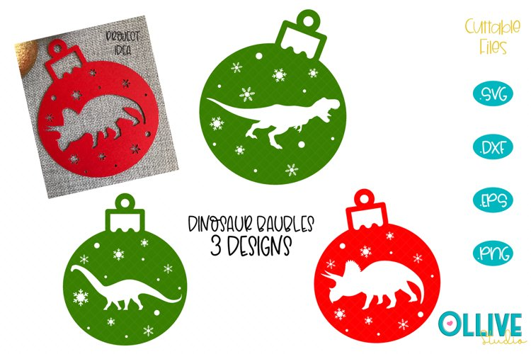 Christmas Dinosaurs Baubles SVG Bundle example image 1