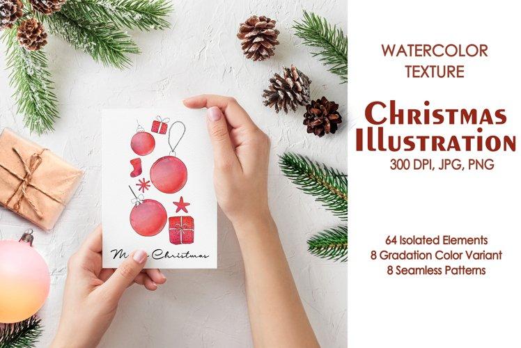 Watercolor Texture Christmas Illustration