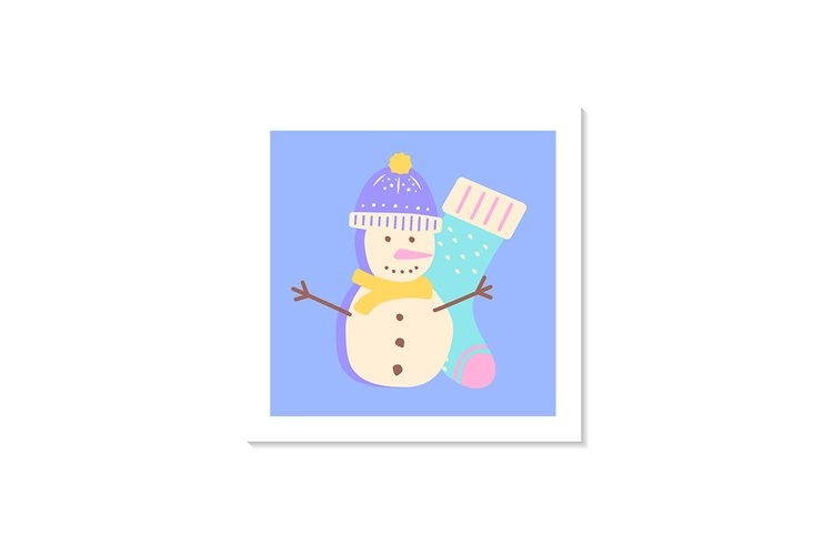Snowman social media post mockup with abstract elements example image 1