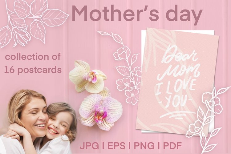 Set of greeting cards for mothers day.
