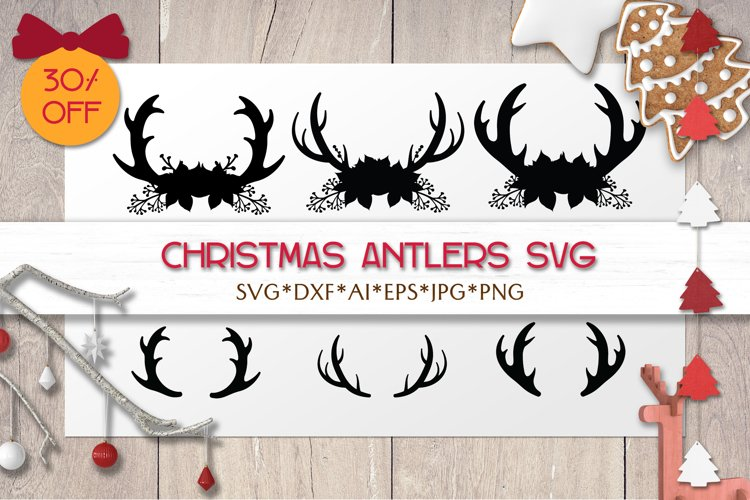 Christmas SVG Antlers | Christmas Silhouettes | Laser Cricut example image 1