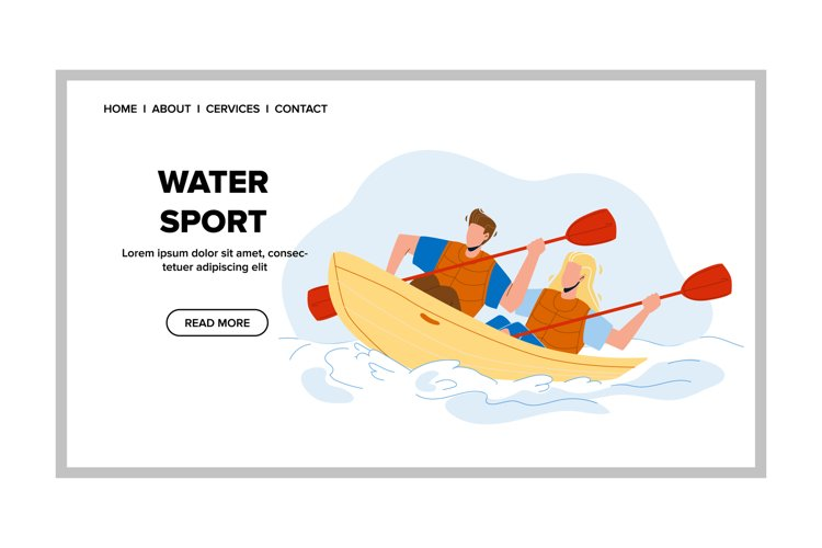 Water Sport Extremal Kayaking Competition Vector example image 1