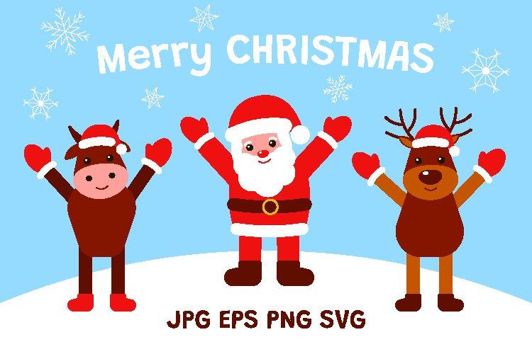 Santa Claus, Deer and Bull. Merry Christmas