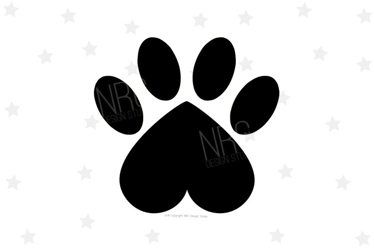 Heart Paw Print SVG File example image 1