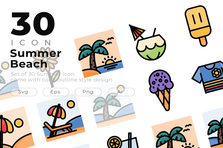Set of 30 Summer icon come with colorline design