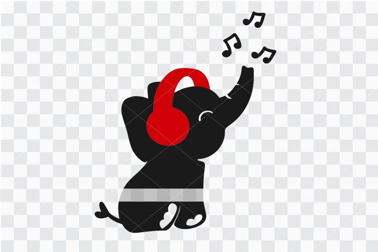 Baby elephant wearing headphone, elephant svg, cute elephant