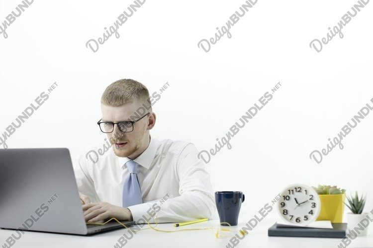 Happy businessman relax on coffee break with legs on table example image 1