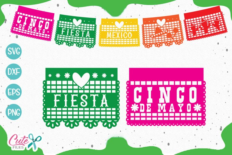 Papercutting banner, mexican party SVG cut files