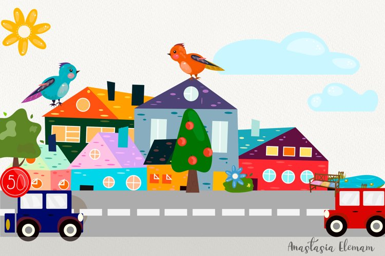 Town buildings with surrouding elements vector clipart set example image 1