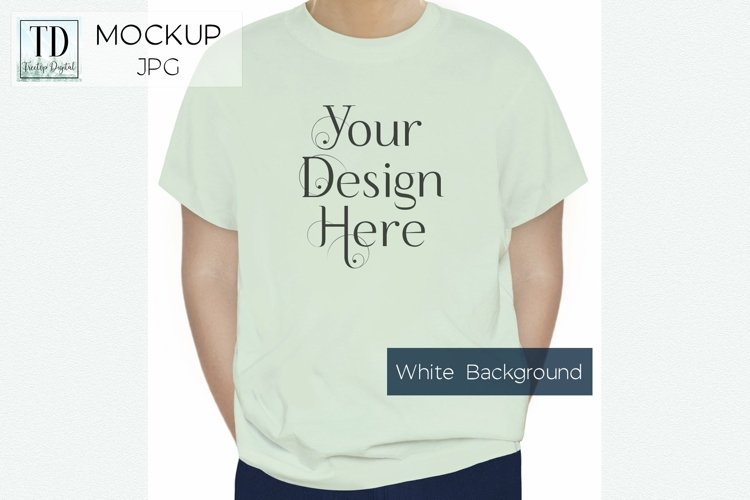 Green TShirt Mockup, Shirt JPG Mock-up on a White Background