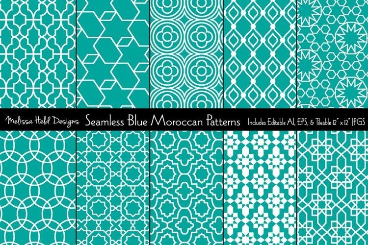 Seamless Blue Moroccan Patterns