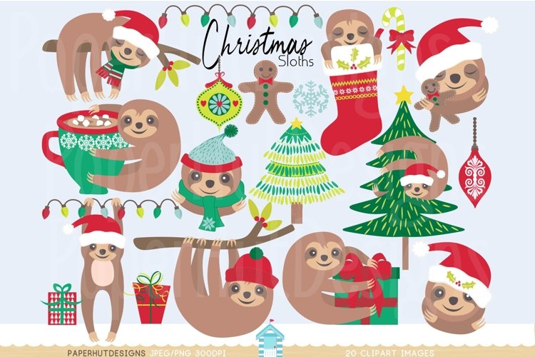 Christmas Clipart Sloth example image 1