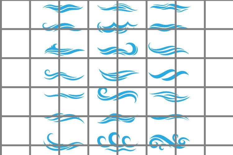 Wave or wind SVG set for cut. Water or ocean illustration example image 1