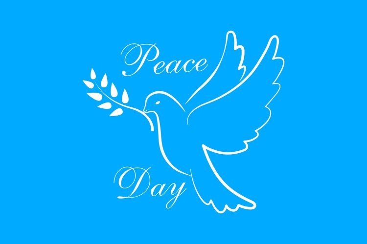 International Peace Day with dove. Dove of Peace symbol example image 1