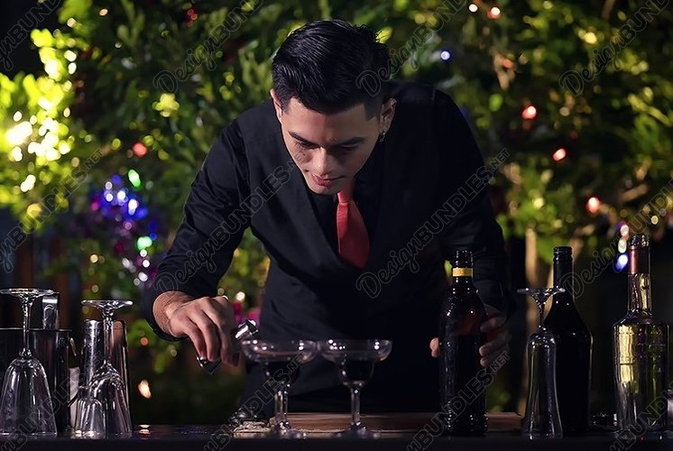 Barman is making cocktail in party example image 1