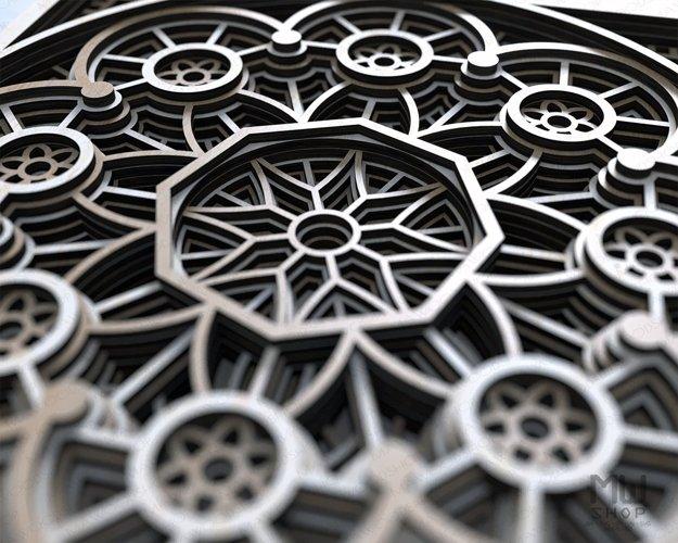 Layered Mandala SVG, 3D Mandala SVG, Laser Cut Mandala - D01 example 4
